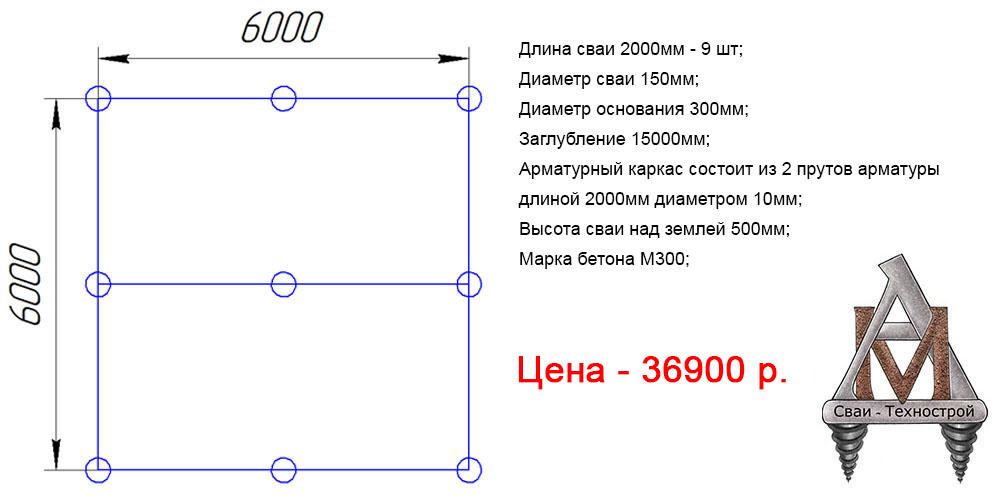 Фундамент для дома 6х6 цена 36900р
